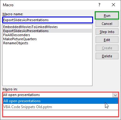 Macro dialog box