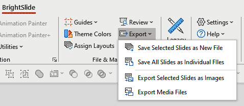 BrightSlide Export options